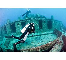 Divers at a shipwreck at Ras Mohammed National Park Photographic Print