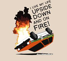 Upside Down and On Fire! (black text) Womens Fitted T-Shirt