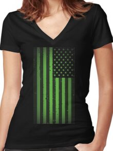 American idiot flag- Green Day Women's Fitted V-Neck T-Shirt
