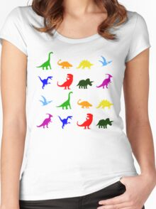 Fun Dinosaur Pattern Women's Fitted Scoop T-Shirt