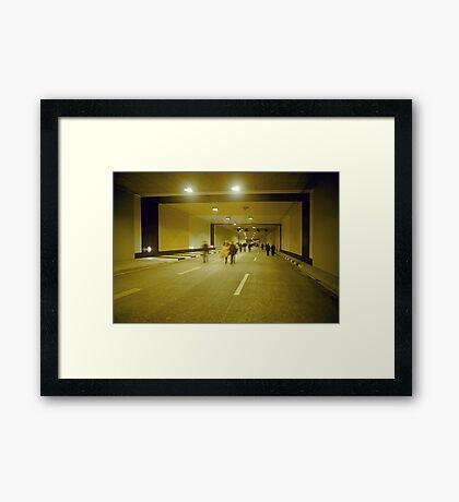 """Walking through """"Rheinufer"""" tunnel, Düsseldorf, NRW, Germany. Framed Print"""