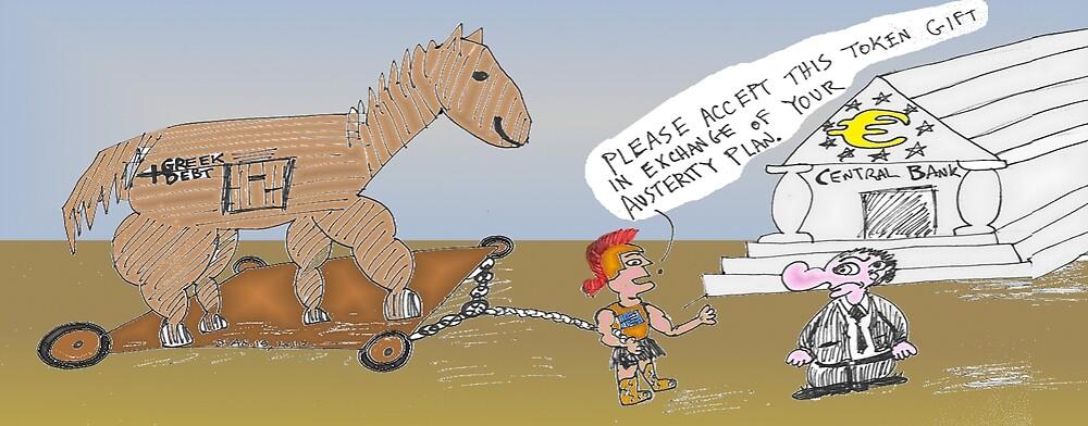 binary options editorial cartoon - greek debt is trojan horse for euro fund by Binary-Options