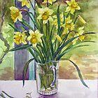 Daffodils in a jug by Joyce Grubb