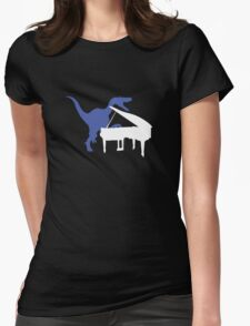 Velociraptor Playing Piano Womens Fitted T-Shirt