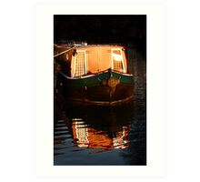 Narrow boat sunset. Art Print