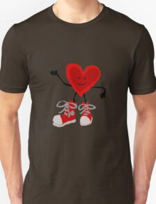 Funny Cool Heart Character with Red Sneakers Unisex T-Shirt