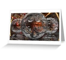 Escher Globes Times Three withTechno Hues Greeting Card