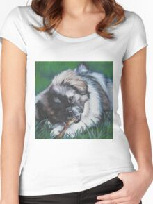 Tibetan Spaniel Fine Art Painting Women's Fitted Scoop T-Shirt