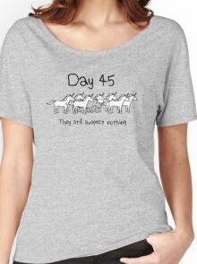 Day 45. They still suspect nothing. (Rhino + Unicorns) Women's Relaxed Fit T-Shirt