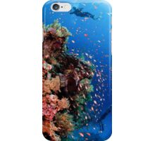 Scuba Divers pass by a coral reef photographed at Ras Mohammed  iPhone Case/Skin