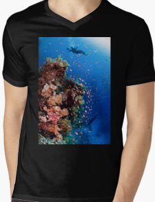 Scuba Divers pass by a coral reef photographed at Ras Mohammed  Mens V-Neck T-Shirt
