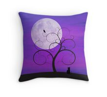 Purple Moon Cat Throw Pillow