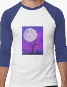 Purple Moon Cat Men's Baseball ¾ T-Shirt