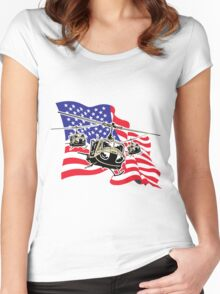 American Flag Helicopters Women's Fitted Scoop T-Shirt