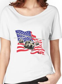 American Flag Helicopters Women's Relaxed Fit T-Shirt