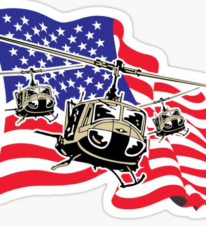 American Flag Helicopters Sticker