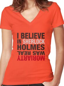 Typography I believe in Sherlock Holmes Women's Fitted V-Neck T-Shirt