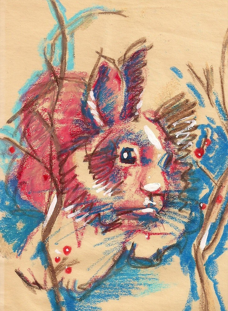 Bunny in red and blue by Dan Wilcox