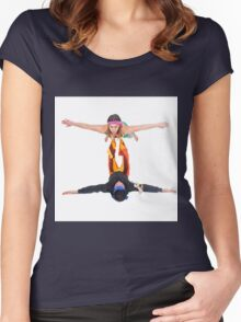 Balance - two acrobats balancing on each other. Man balances woman Women's Fitted Scoop T-Shirt