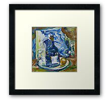 Blue White Still Life Framed Print