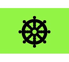 Green Ship's Wheel Photographic Print