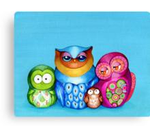 Owl Family Portrait Canvas Print