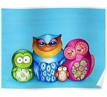 Owl Family Portrait Poster