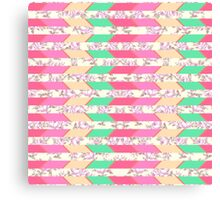 Colorful Hipster Floral Print Zigzag Pattern Canvas Print
