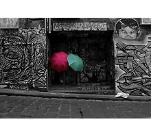 Umbrella's Amongst Graffiti Photographic Print
