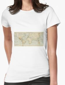 Vintage Map of The World (1911) 2 Womens Fitted T-Shirt