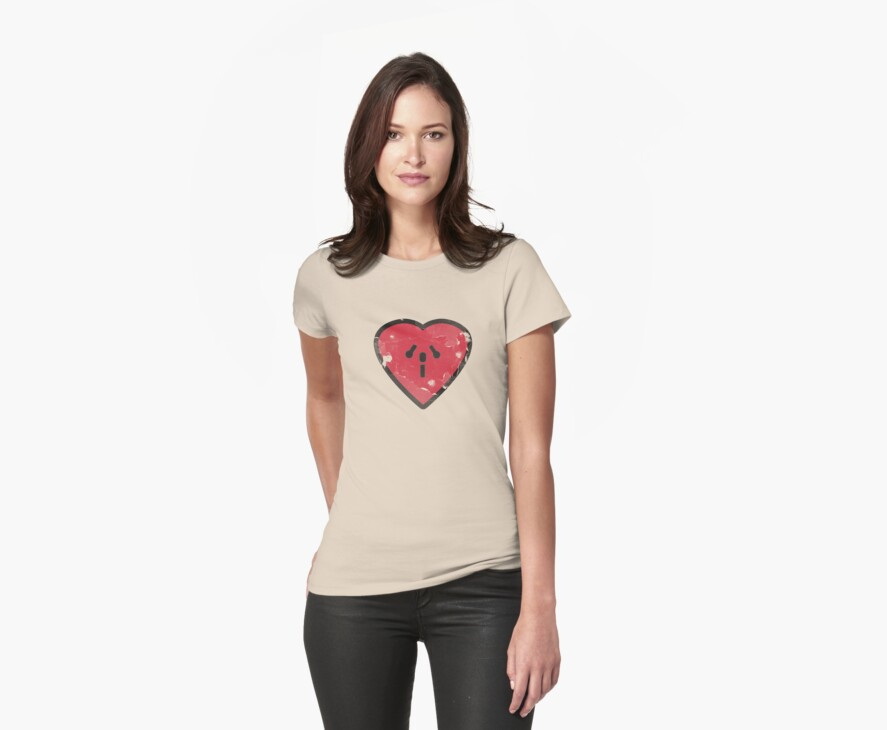 Cute Funny Heart Love Valentine Grunge T-shirt by Denis Marsili