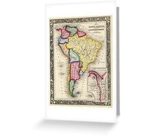 Vintage Map of South America (1860) Greeting Card