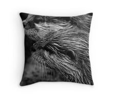 black and white otter Throw Pillow