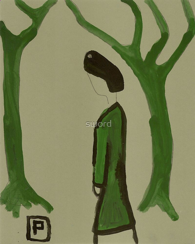 Lady in a green coat by sword