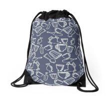 Dishes blue pattern Drawstring Bag