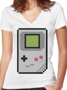 8 bit Gameboy Classic Women's Fitted V-Neck T-Shirt