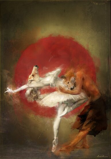 Valentine's Day Art and Design: fox ballet by badmiaou