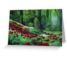 Red Poppies in the Forest Greeting Card