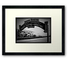 Santa Monica Pier Sign. Series. 2 of 5. Holga Black & White Framed Print