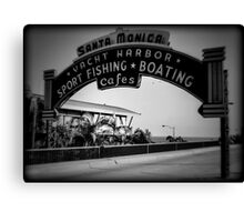 Santa Monica Pier Sign. Series. 2 of 5. Holga Black & White Canvas Print