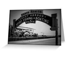 Santa Monica Pier Sign. Series. 2 of 5. Holga Black & White Greeting Card