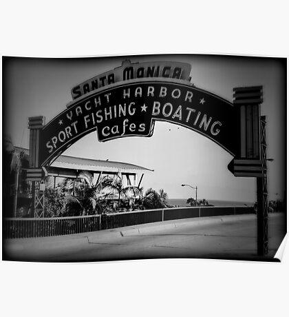 Santa Monica Pier Sign. Series. 2 of 5. Holga Black & White Poster