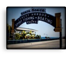 Santa Monica Pier Sign. Series. 3 of 5. Holga Color Canvas Print