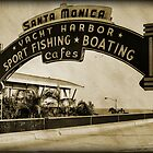 Santa Monica Pier Sign. Series. 4 of 5. Sepia Grunge by RickyBarnard