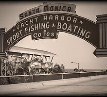 Santa Monica Pier Sign. Series. 5 of 5. Vintage. by RickyBarnard