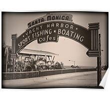 Santa Monica Pier Sign. Series. 5 of 5. Vintage. Poster