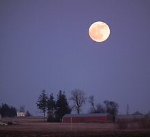 Winter Moon Over Iowa Farmstead by Deb Fedeler