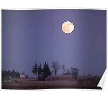 Winter Moon Over Iowa Farmstead Poster