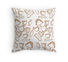 Dishes brown pattern Throw Pillow
