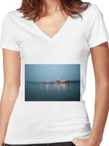 Foggy night Women's Fitted V-Neck T-Shirt